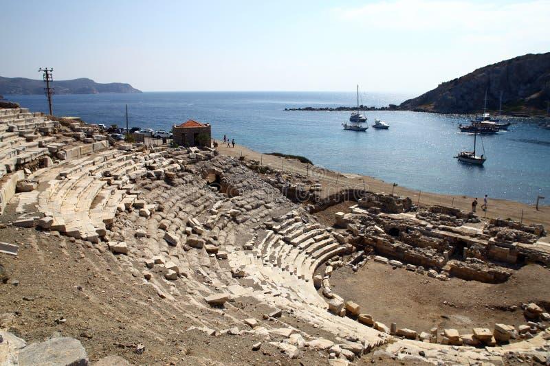 Knidos amfiteater royaltyfria bilder