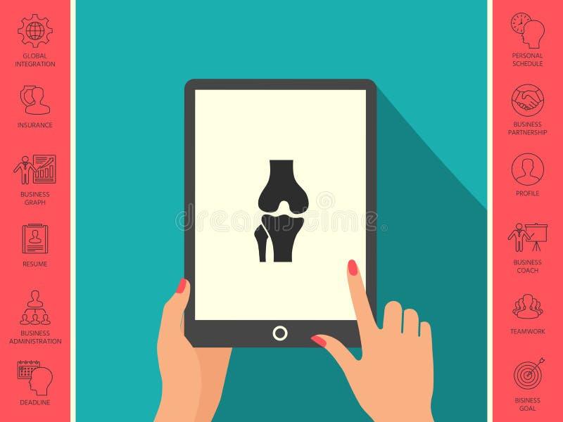 Knie gezamenlijk pictogram royalty-vrije illustratie