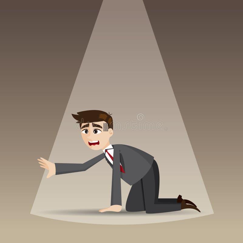 Knielt de beeldverhaal hopeloze zakenman op vloer vector illustratie
