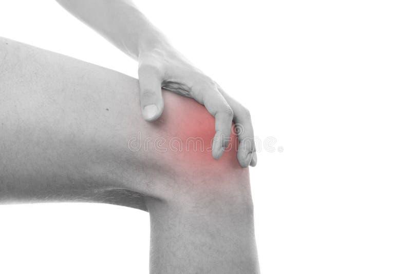 Knieschmerz in den Männern stockfoto