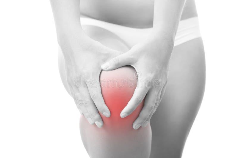 Knieschmerz in der Frau lizenzfreie stockbilder