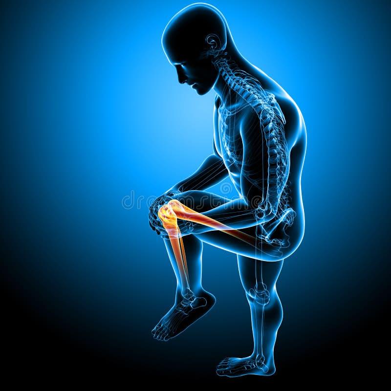 Knieschmerz des Mannes stock abbildung