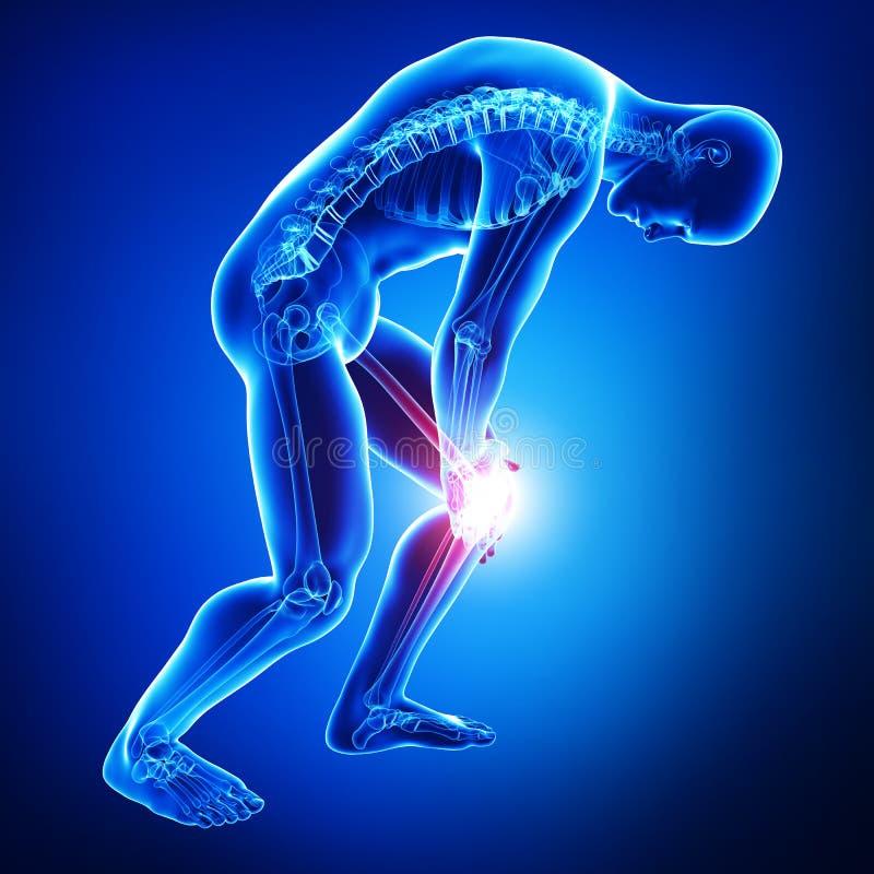 Knieschmerz des Mannes lokalisiert im Blau stock abbildung