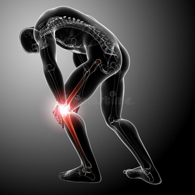 Knieschmerz des Mannes im Grau stock abbildung