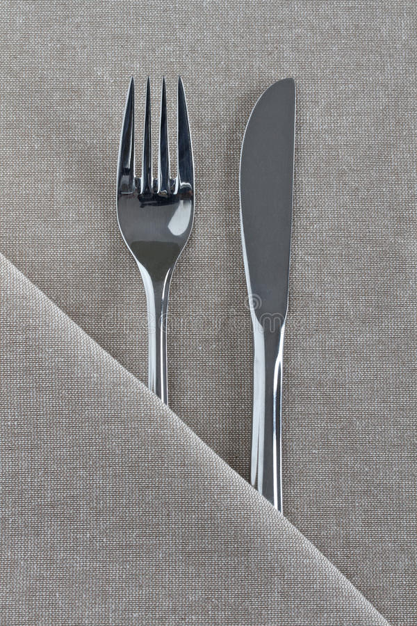Free Knife And Fork On Natural Linen Royalty Free Stock Image - 20962086