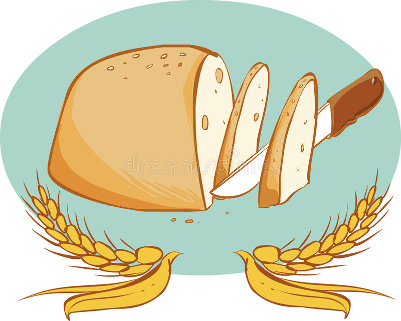Knife and bread. A vector image (knife and bread royalty free illustration