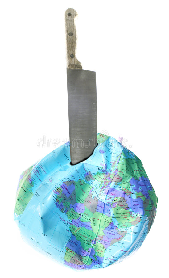 Knife destroying Planet Earth. Sharp knife deflating globe of Planet Earth, isolated on white background stock image