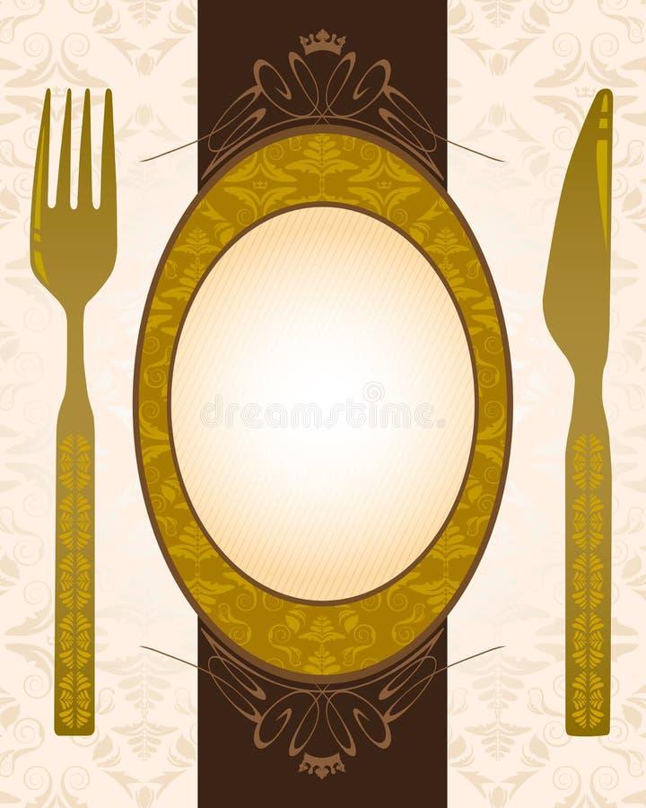 Knife, fork and banner royalty free illustration