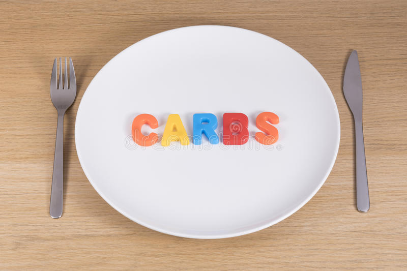 A knife, fork and empty plate with the word carbs royalty free stock photography