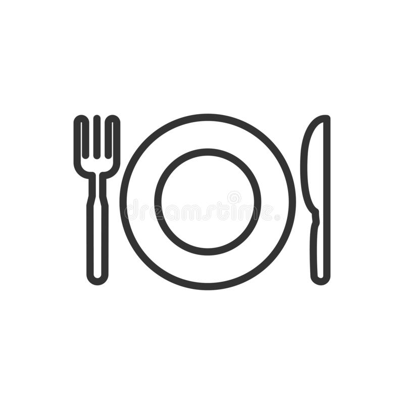 Knife, fork, plate thin line icon isolated on white background. Knife, fork, plate thin line icon. Breakfast, dinner, lunch. Hotel, motel sign outline design vector illustration
