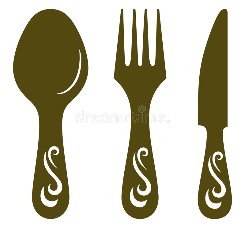 Download Knife, fork and spoon stock vector. Image of meal, illustration - 27139931