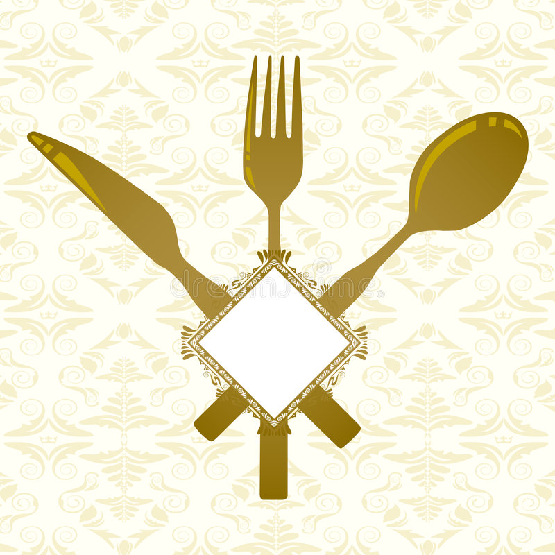 Knife, fork, spoon and banner vector illustration