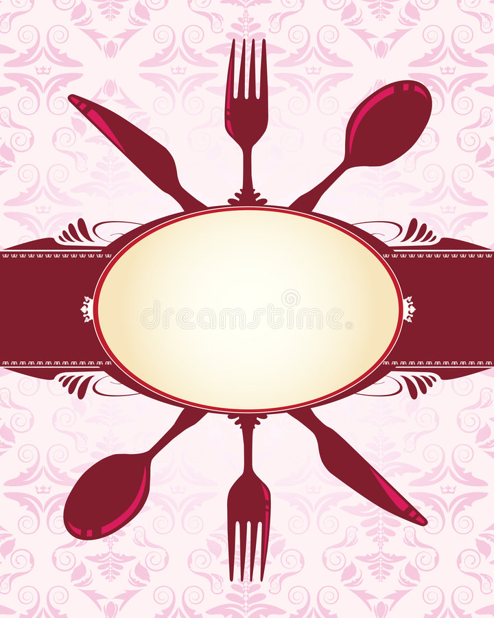 Knife, fork, spoon and banner stock illustration