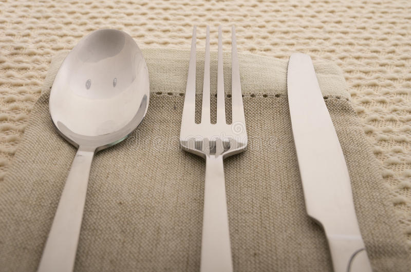 Download Knife, Fork And Spoon With Linen Serviette Stock Image - Image of cooking, linen: 32851443