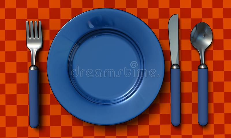 Download Knife, Fork, Spoon And Plate Stock Illustration - Illustration of dish, knife: 10006483