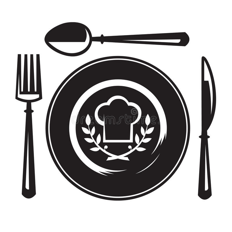 Knife, fork, spoon and plate vector illustration