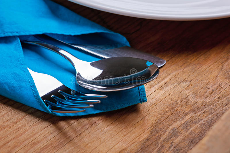 Knife, Fork, Spoon and plate stock images