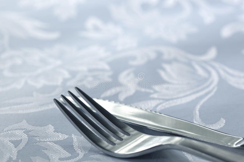 Download Knife And Fork On White Linen Stock Photo - Image: 14856378