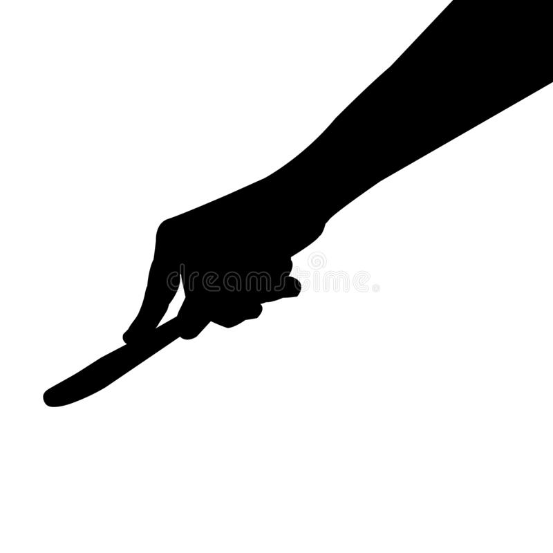 Knife in hand silhouette, vector graphic isolated on white background royalty free stock photos