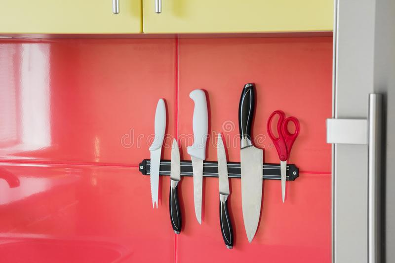 Knife magnet in a kitchen stock images