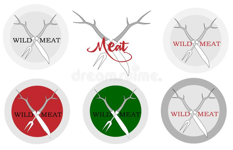 Knife and meat fork with deer horns logo for a restaurant stock illustration