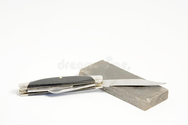 Knife with whetstone stock image