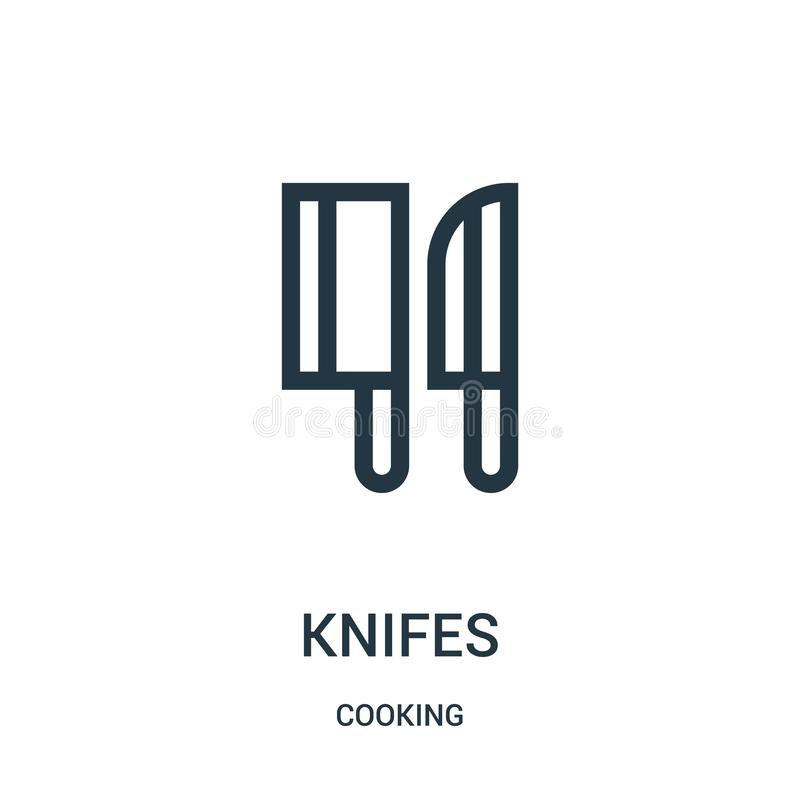 knifes icon vector from cooking collection. Thin line knifes outline icon vector illustration. Linear symbol royalty free illustration