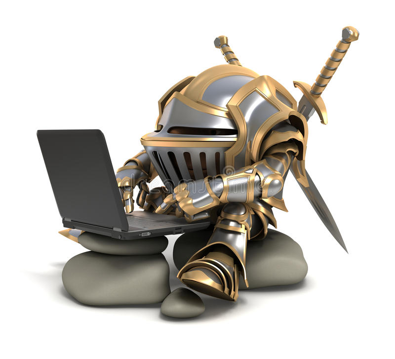 Knigh and computer royalty free stock image
