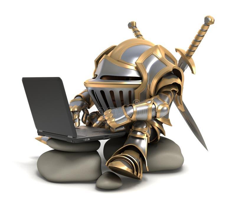 Knigh en computer royalty-vrije stock afbeelding