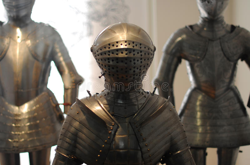 Knight armor. Knight medieval metal armor detail stock photos