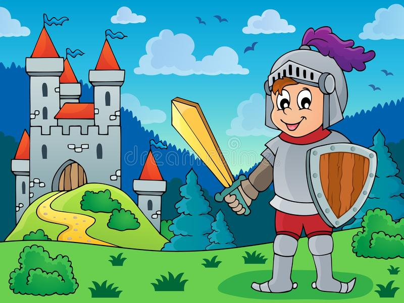 Knight in armor near castle royalty free illustration