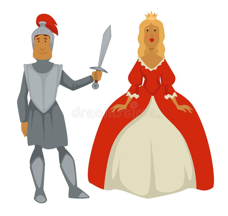 Knight in armor and princess in ball gown isolated Medieval characters. Princess in ball gown and knight in armor isolated Medieval characters vector man with royalty free illustration