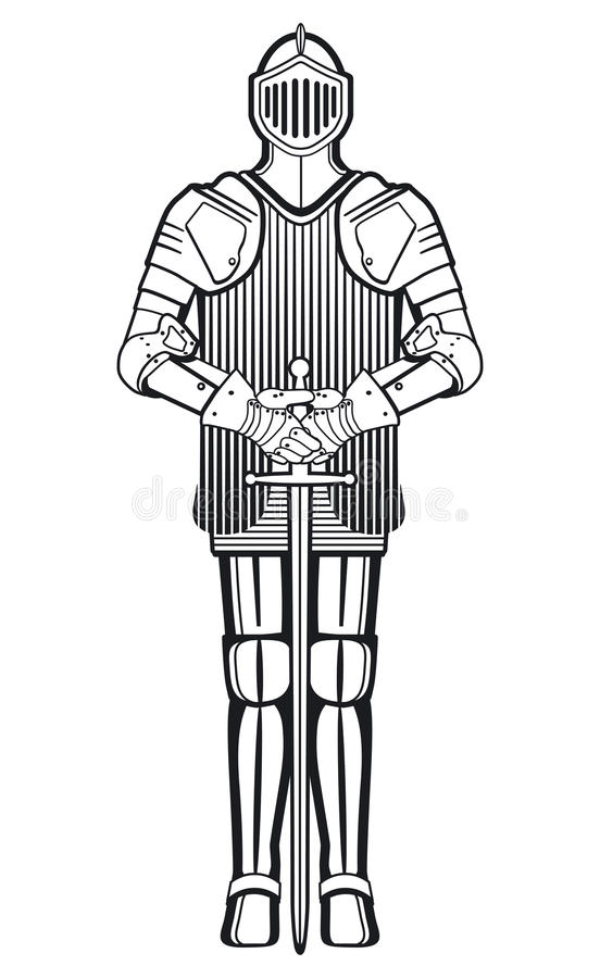 Knight In Armor With Sword Royalty Free Stock Images