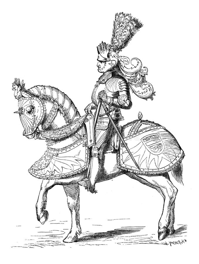 Knight in armour. 16th century knight in tournament armour.Originally published in swedish book Historisk lasebok published in 1882 stock illustration