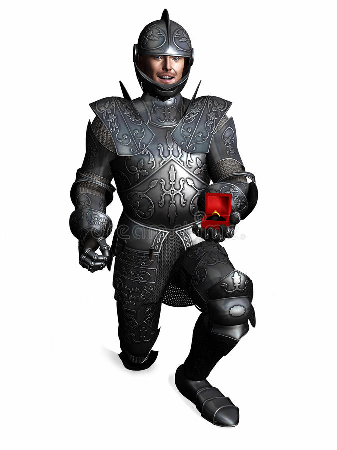 Download Knight In Armour Down On One Knee And Proposing. Stock Image - Image: 12650691