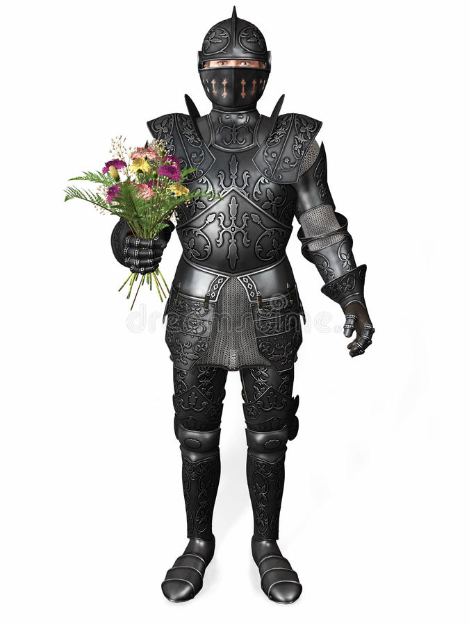 A knight in armour holding a bouquet. A romantic knight in full armour holding a bouquet of carnation flowers. White background stock illustration