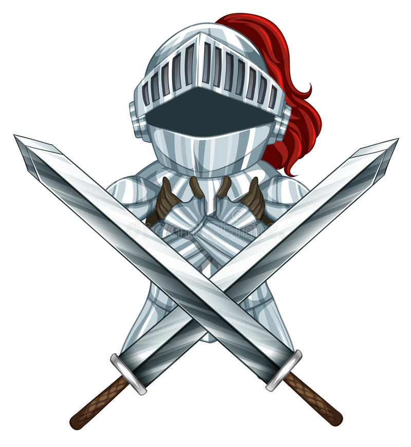 Knight armour. Knight and sword armour on white vector illustration