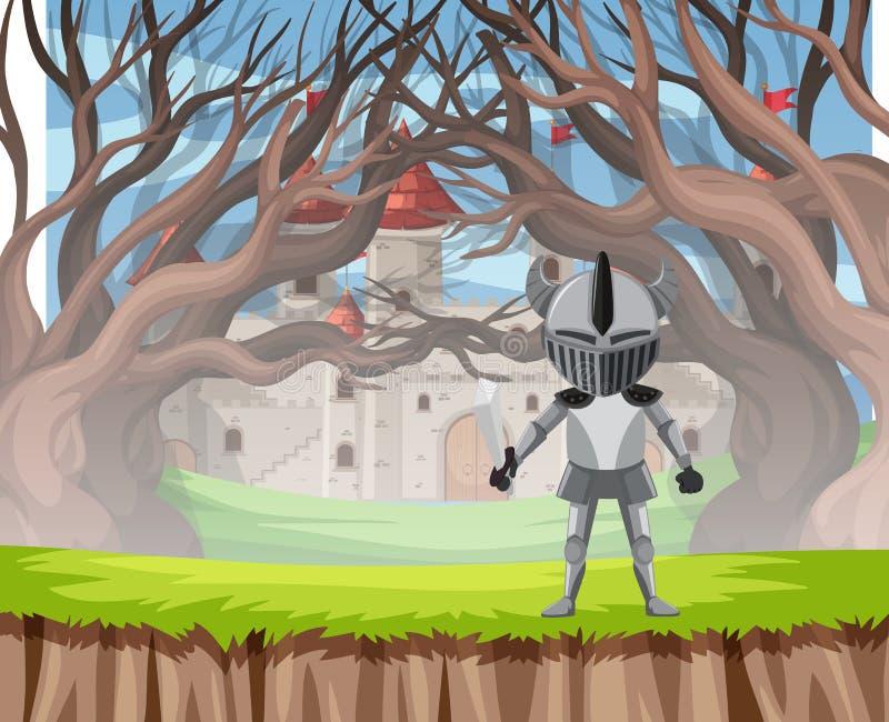 Knight in armour wood scene. Illustration stock illustration