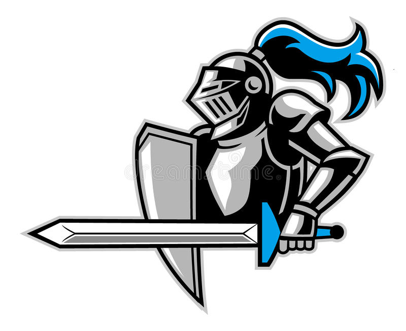 Knight with a big sword stock illustration