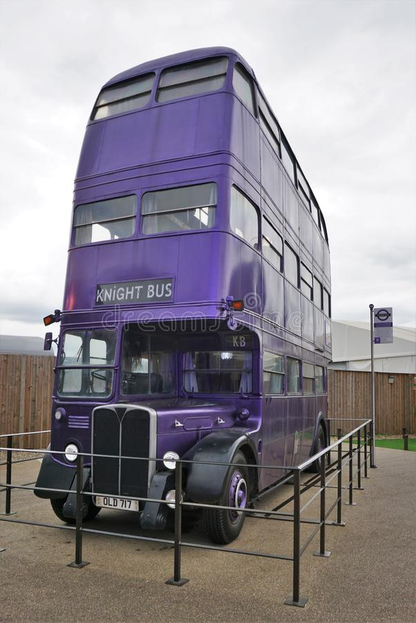 Knight Bus. Knightb Bus is a triple-decker purplebusthat helps stranded people of the wizard community with public transport. It operates at high stock photos