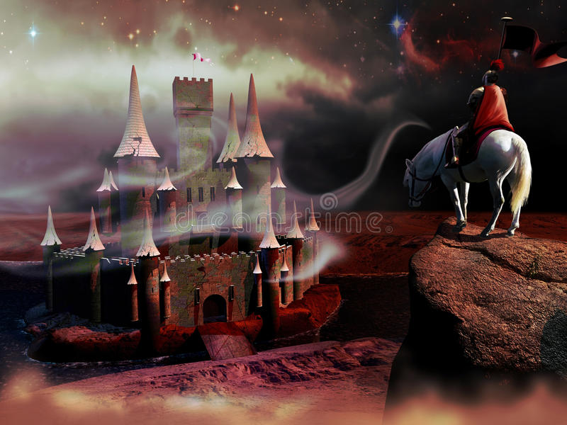 The knight and the castle. A knight on his horse, high on a rock, observes a broken and abandoned castle stock illustration