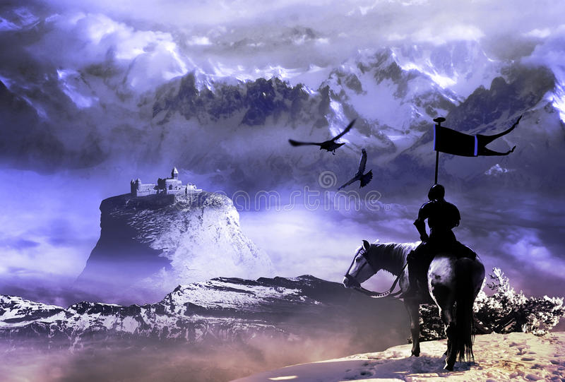 Knight and Castle. Knight watching a castle situated on the top of a rock, high in the mountains vector illustration