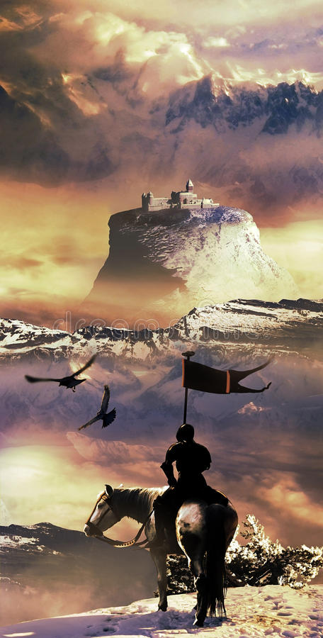 Knight and Castle. Knight watching a castle situated on the top of a rock, high in the mountains. Vertical version stock illustration