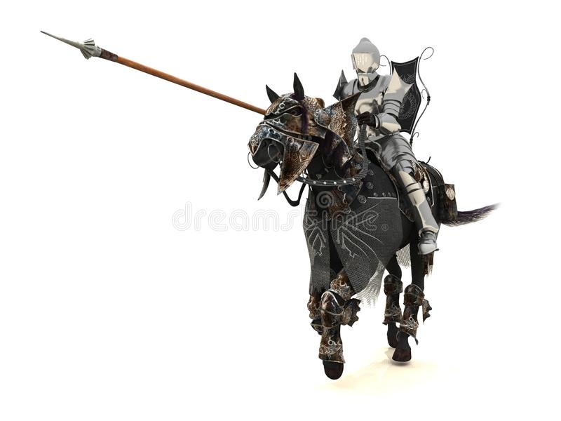 Knight on charger stock illustration