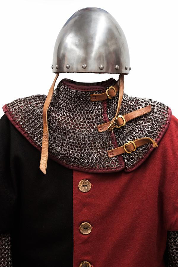 Knight costume. On white background stock images