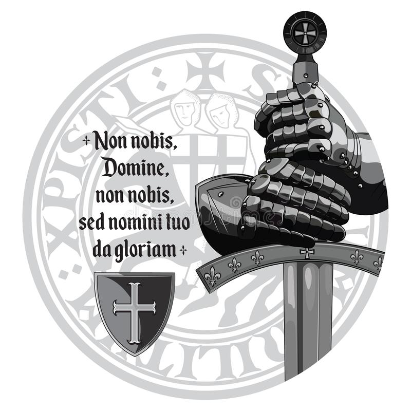Knight design. Armour gloves of the knight, shield and the sword of the Crusader. Isolated on white, vector illustration, eps-10 vector illustration