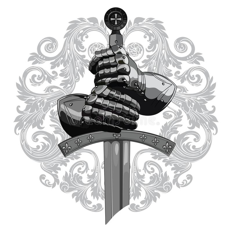 Knight design. Armour gloves of the knight, shield and the sword of the Crusader. Isolated on white, vector illustration stock illustration