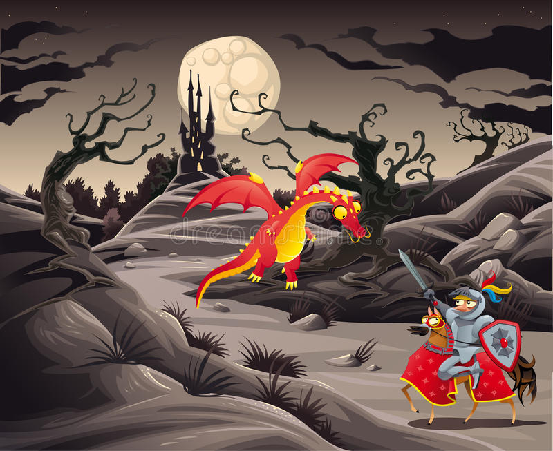 Knight and dragon in a landscape with castle. royalty free illustration
