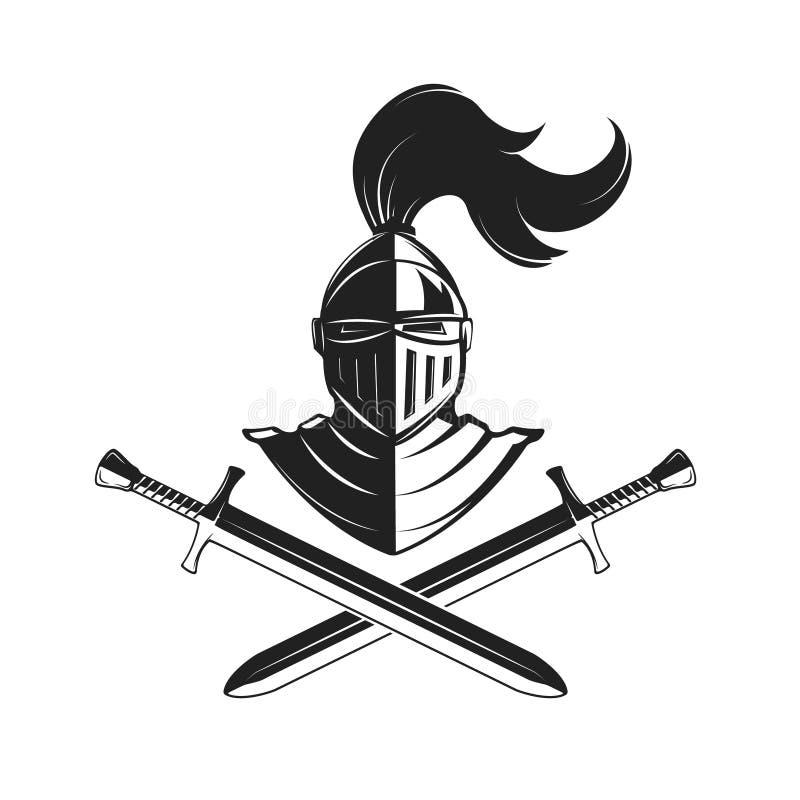 Knight el casco con dos espadas aisladas en el fondo blanco stock de ilustración
