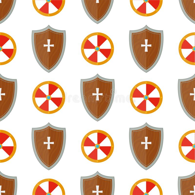 Knight el ejemplo inconsútil del vector del fondo del modelo de las armas del escudo del engranaje medieval caballeresco heráldic libre illustration